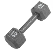 12 LB Cast Iron Hex Dumbbell