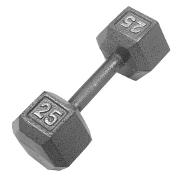25 LB Cast Iron Hex Dumbbell