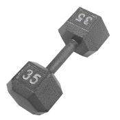 35 LB Cast Iron Hex Dumbbell