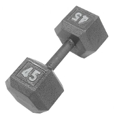 45 LB Cast Iron Hex Dumbbell