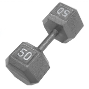 50 LB Cast Iron Hex Dumbbell