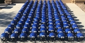 Over 100 Used Adult Schutt DNA Pro Plus Football Helmets - Royal